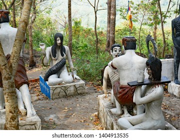 Killing Caves, Battambang, Cambodia 07-12-2018 A tableau of torture and torment depicts what wrongdoers can expect when they are sent to Buddhist Hell, Naraka.