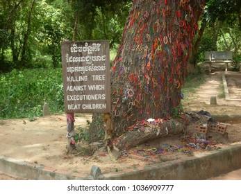 "The ""killing tree"" inside Choeung Ek Memorial (killing fields) in Phnom Penh, Cambodia"