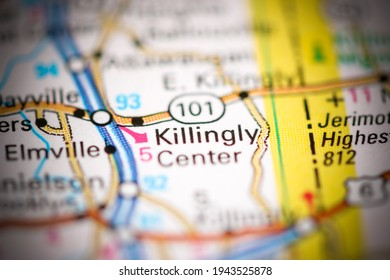 Killingly Center. Connecticut. USA on a geography map