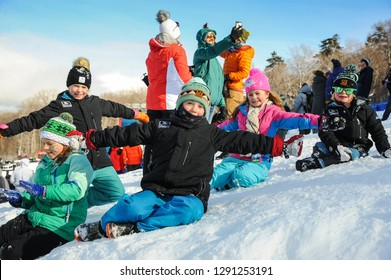 KILLINGTON, USA - NOVEMBER 24: A general view to Festival Village and kids having fun during the Audi FIS Alpine Ski World Cup Women's Giant Slalom on November 24, 2018 in Killington USA.