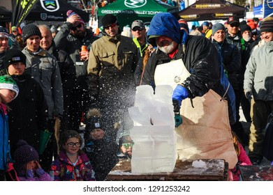 KILLINGTON, USA - NOVEMBER 24: A general view to Festival Village and ice sculpture cutting during the Audi FIS Alpine Ski World Cup Women's Giant Slalom on November 24, 2018 in Killington USA.