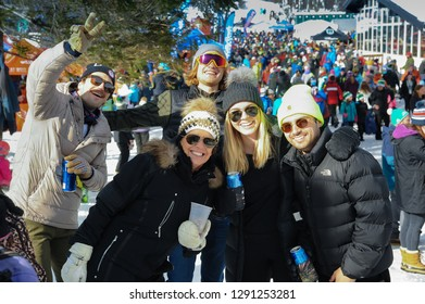 KILLINGTON, USA - NOVEMBER 24: A general view to Festival Village and people during the Audi FIS Alpine Ski World Cup Women's Giant Slalom on November 24, 2018 in Killington USA.