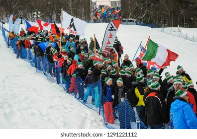 KILLINGTON, USA - NOVEMBER 24: An opening parade at Finish Area, Bottom of Superstar Trail during the Audi FIS Alpine Ski World Cup Women's Giant Slalom on November 24, 2018 in Killington USA.