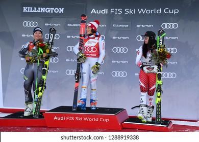 KILLINGTON, USA - NOVEMBER 24: Ragnhild Mowinckel, Federica Brignone, Stephanie Brunner during the Audi FIS Alpine Ski World Cup Women's Giant Slalom on November 24, 2018 in Killington USA.