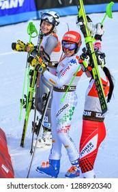 KILLINGTON, USA - NOVEMBER 24: Ragnhild Mowinckel , Federica Brignone, Stephanie Brunner during the Audi FIS Alpine Ski World Cup Women's Giant  Slalom on November 24, 2018 in Killington USA.