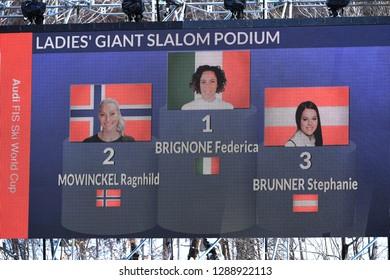 KILLINGTON, USA - NOVEMBER 24: Ragnhild Mowinckel, Federica Brignone, Stephanie Brunner of Austria  during the Audi FIS Alpine Ski World Cup Women's Giant Slalom on November 24, 2018 in Killington USA
