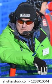 KILLINGTON, USA - NOVEMBER 24: A staff working during the Audi FIS Alpine Ski World Cup Women's Giant Slalom on November 24, 2018 in Killington USA.