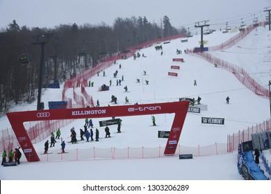 KILLINGTON, USA - NOVEMBER 25: A general view to Finish line area during the Audi FIS Alpine Ski World Cup Women's Giant Slalom on November 25, 2018 in Killington USA.