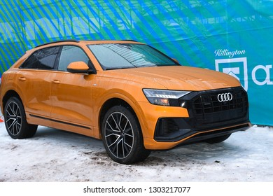 KILLINGTON, USA - NOVEMBER 25: A general view to Festival Village and Audi car during the Audi FIS Alpine Ski World Cup Women's Giant Slalom on November 25, 2018 in Killington USA.