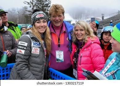 KILLINGTON, USA - NOVEMBER 25: Mikaela Schiffrin and Preston Leete Smith, founder of Killington Ski Resort posing for to the camera during the Audi FIS Alpine Ski World Cup on November 25, 2018