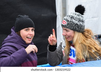 KILLINGTON, USA - NOVEMBER 25: Mikaela Shiffrin givind a hug to the friend during the Audi FIS Alpine Ski World Cup Women's Giant Slalom on November 25, 2018 in Killington USA.