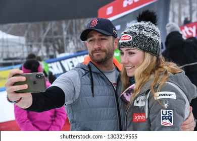 KILLINGTON, USA - NOVEMBER 25: Mikaela Shiffrin shooting selfie with a friend during the Audi FIS Alpine Ski World Cup Women's Giant Slalom on November 25, 2018 in Killington USA.