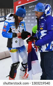 KILLINGTON, USA - NOVEMBER 25: Petra Vlhova of Slovakia signing souvenirs during the Audi FIS Alpine Ski World Cup Women's Giant Slalom on November 25, 2018 in Killington USA.