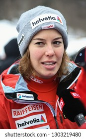 KILLINGTON, USA - NOVEMBER 25: RTS TV making Interview with Gissin Michelle from Suisse during the Audi FIS Alpine Ski World Cup Women's Giant Slalom on November 25, 2018 in Killington USA.