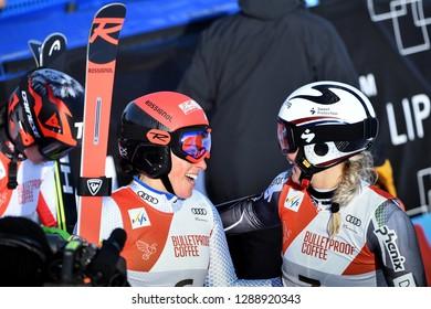 KILLINGTON, VERMONT - NOVEMBER 24: Frederica Brignone celebrates with Ragnhild Mowinckel after winning the Women's Giant Slalom at the Audi FIS Ski World Cup on November 24, 2018 in   Killington USA.