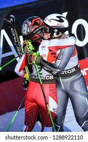 KILLINGTON, VERMONT - NOVEMBER 24: Frederica Brignone celebrates with Ragnhild Mowinckel after winnng the Women's Giant Slalom at the Audi FIS Ski World Cup on November 24, 2018 in    Killington USA.