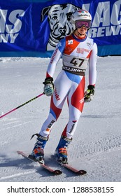 KILLINGTON, VT - NOVEMBER 24: Aline Danioth of SUI in the finish area after the second run of the giant slalom at the Audi FIS Ski World Cup - Killington Cup on November 24, 2018 in Killington, VT.