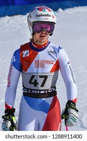 KILLINGTON, VT - NOVEMBER 24: Aline Danioth of SUI after the second run of the giant slalom at the Audi FIS Ski World Cup - Killington Cup on November 24, 2018 in Killington, Vermont.