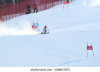 KILLINGTON, VT - NOVEMBER 24: Andrea Ellenberger of SUI  after the second run of the giant slalom at the Audi FIS Ski World Cup - Killington Cup on November 24, 2018 in Killington, Vermont.