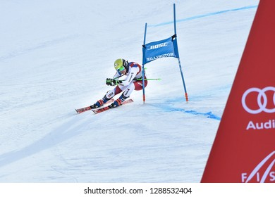KILLINGTON, VT - NOVEMBER 24: Carole Bissig of SUI in the finish area after the second run of the giant slalom at the Audi FIS Ski World Cup - Killington Cup on November 24, 2018 in Killington, VT.