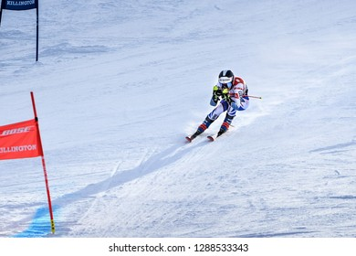 KILLINGTON, VT - NOVEMBER 24: Clara Direz of France in the finish area after the second run of the giant slalom at the Audi FIS Ski World Cup - Killington Cup on November 24, 2018 in Killington, VT.