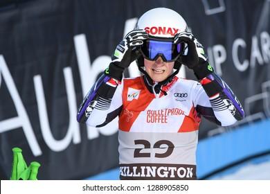 KILLINGTON, VT - NOVEMBER 24: Eva-Maria Brem of Austria after the second run of the giant slalom at the Audi FIS Ski World Cup - Killington Cup on November 24, 2018 in Killington, Vermont.