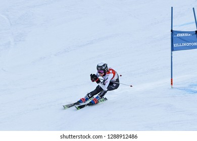 KILLINGTON, VT - NOVEMBER 24: Foreste Peterson of USA after the second run of the giant slalom at the Audi FIS Ski World Cup - Killington Cup on November 24, 2018 in Killington, Vermont.