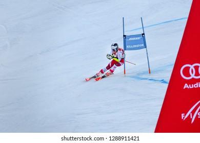 KILLINGTON, VT - NOVEMBER 24: Julia Scheib of Austria after the second run of the giant slalom at the Audi FIS Ski World Cup - Killington Cup on November 24, 2018 in Killington, Vermont.