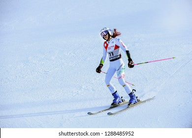 KILLINGTON, VT - NOVEMBER 24: Marta Bassino of Italy at finish area after the second run of the giant slalom at the Audi FIS Ski World Cup - Killington Cup on November 24, 2018 in Killington, Vermont