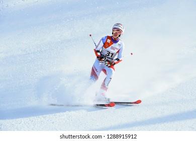 KILLINGTON, VT - NOVEMBER 24: Michelle Gisin of SUI after the second run of the giant slalom at the Audi FIS Ski World Cup - Killington Cup on November 24, 2018 in Killington, Vermont.