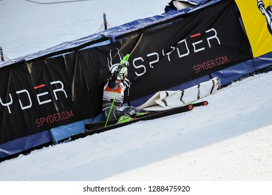 KILLINGTON, VT - NOVEMBER 24: Mina Fuerst Holtmann of Norway crash in the finish area  during the giant slalom at the Audi FIS Ski World Cup - Killington Cup on November 24, 2018 in Killington VT.
