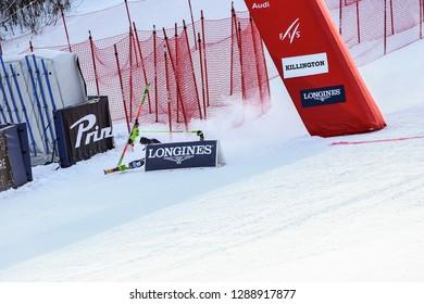 KILLINGTON, VT - NOVEMBER 24: Mina Fuerst Holtmann of Norway crash after the first run of the giant slalom at the Audi FIS Ski World Cup - Killington Cup on November 24, 2018 in Killington, Vermont.