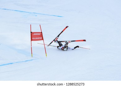 KILLINGTON, VT - NOVEMBER 24: Nina O Brien of USA crush in finish area after the second run of the giant slalom at the Audi FIS Ski World Cup - Killington Cup on November 24, 2018 in Killington, VT