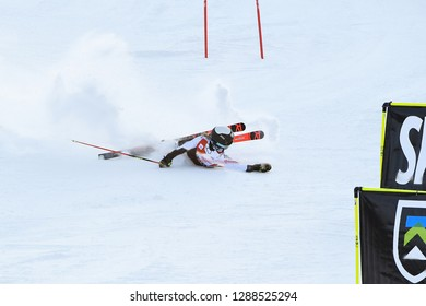KILLINGTON, VT - NOVEMBER 24: Nina O Brien of USA crush in finish area after the second run of the giant slalom at the Audi FIS Ski World Cup - Killington Cup on November 24, 2018 in Killington, VT.