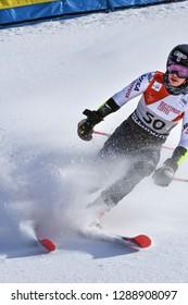 KILLINGTON, VT - NOVEMBER 24: Patricia Mangan of USA after the second run of the giant slalom at the Audi FIS Ski World Cup - Killington Cup on November 24, 2018 in Killington, Vermont.