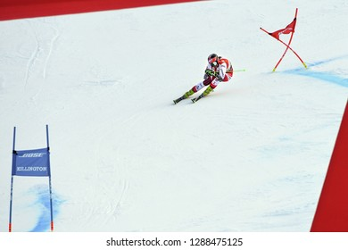 KILLINGTON, VT - NOVEMBER 24: Ricarda Haaser of Austria in the finish area after the second run of the giant slalom at the Audi FIS Ski World Cup - Killington Cup on November 24, 2018 in Killington VT
