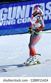 KILLINGTON, VT - NOVEMBER 24: Sakurako Mukigawa of Japan after the first run of the giant slalom at the Audi FIS Ski World Cup - Killington Cup on November 24, 2018 in Killington, Vermont.