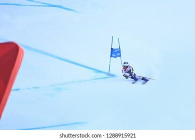 KILLINGTON, VT - NOVEMBER 24: Tiana Barioz of France after the second run of the giant slalom at the Audi FIS Ski World Cup - Killington Cup on November 24, 2018 in Killington, Vermont.