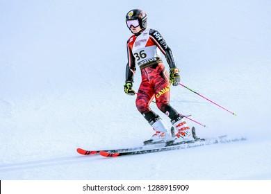 KILLINGTON, VT - NOVEMBER 24: Valerie Grenier of Canada after the second run of the giant slalom at the Audi FIS Ski World Cup - Killington Cup on November 24, 2018 in Killington, Vermont.