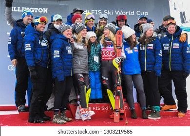 KILLINGTON, VT - NOVEMBER 25: Mikaela Shiffrin of the United States celebrates with her team after winning the Women's Slalom  on November 25, 2018 in Killington, Vermont.