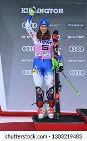 KILLINGTON, VT - NOVEMBER 25: Petra Vlhova of Slovakia in 2nd place celebrates on the podium during the Women's Slalom during the Audi FIS Ski World Cup - Killington Cup on November 25, 2018