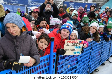 KILLINGTON, VT - NOVEMBER 25: Race fans cheer during the Women's Slalom race during the Audi FIS Ski World Cup - Killington Cup on November 25, 2018 in Killington, Vermont.
