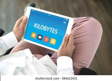 KILOBYTES CONCEPT ON TABLET PC SCREEN