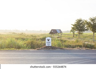 kilometer stone on a country road, Thailand