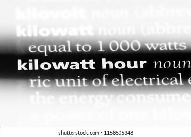 kilowatt hour word in a dictionary. kilowatt hour concept.