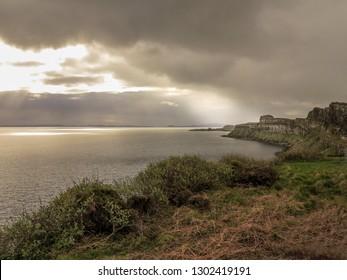 Kilt rock coastline cliff in Scottish Highlands, Isle of Skye, Scotland, May 2014