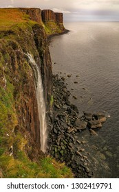 Kilt rock coastline cliff and waterfall in Scottish Highlands, Isle of Skye, Scotland, May 2014