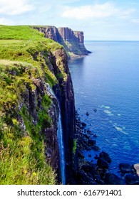 Kilt Rock coastline in Scotland on isle Skye. Nature panorama