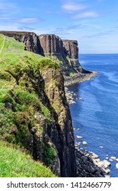 Kilt Rock is a sea cliff in north east Trotternish on the Isle of Skye. It resembles a kilt, with vertical basalt columns to form the pleats and intrude sills of dolerite forming the pattern.