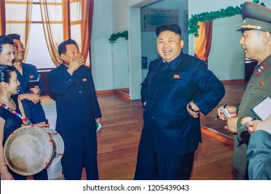 Kim Jong Un visits Mangyongdae School, Pyongyang, North Korea, May 22, 2018
